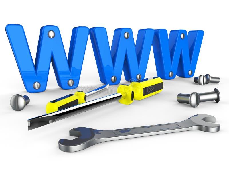 Online Hulpmiddelenmiddelen World Wide Web en Apparaten stock illustratie