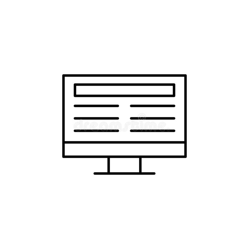 Online icon. Element of news thin line icon. On white background stock illustration