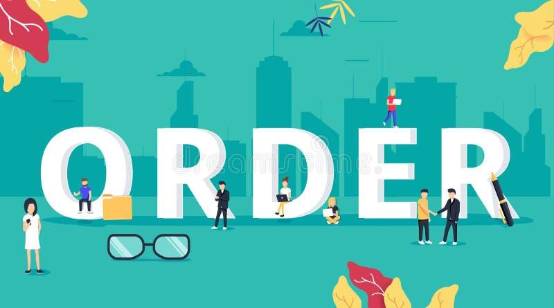 Online-illustration för beställningsbegreppsvektor av folk som beställer och inhandlar olika typer av gods liksom mat vektor illustrationer