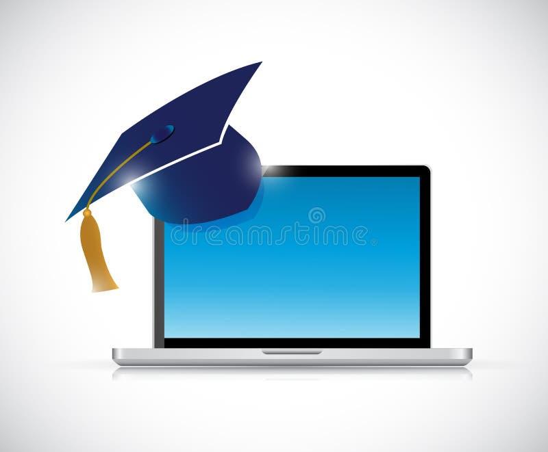 Online-illustration för utbildningsavläggande av examenbegrepp royaltyfri illustrationer