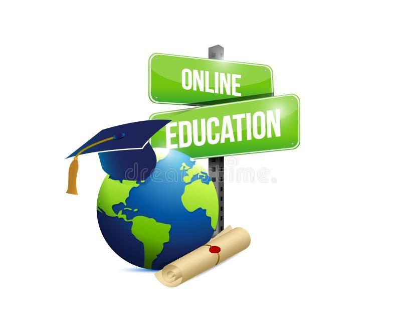 online-illustration för utbildningsnätverksbegrepp royaltyfri illustrationer