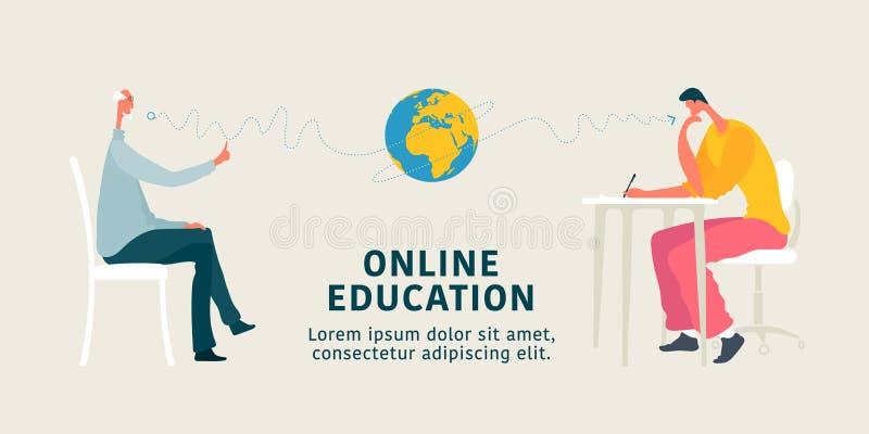 Online-illustration f?r utbildningsbegreppsvektor Ung man som tar internetkurs och passerar examina stock illustrationer