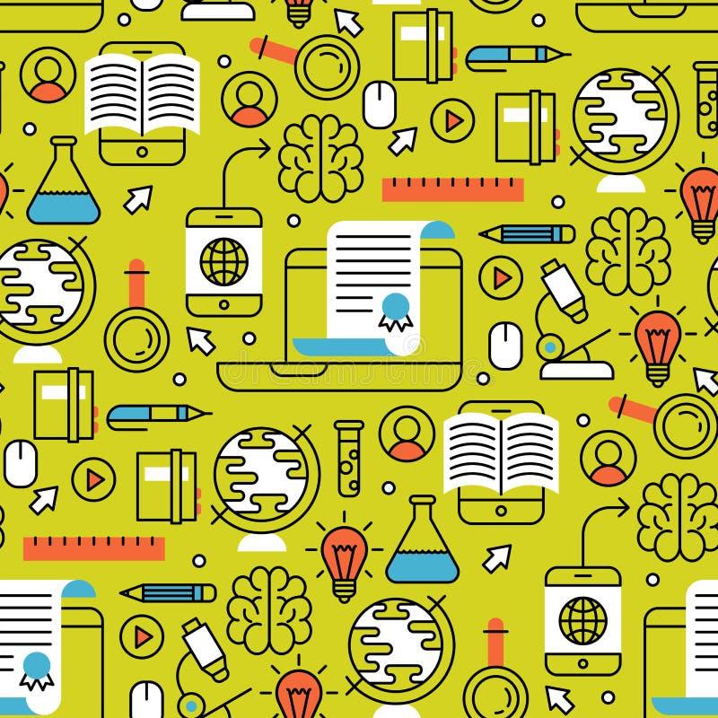 Online imparare il deposito senza cuciture di addestramento del fondo del modello di istruzione distante piana di progettazione c illustrazione di stock