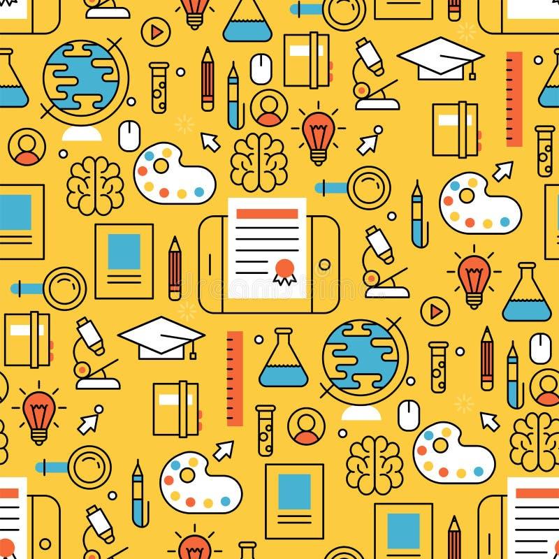 Online imparare il deposito senza cuciture di addestramento del fondo del modello di istruzione distante piana di progettazione c illustrazione vettoriale