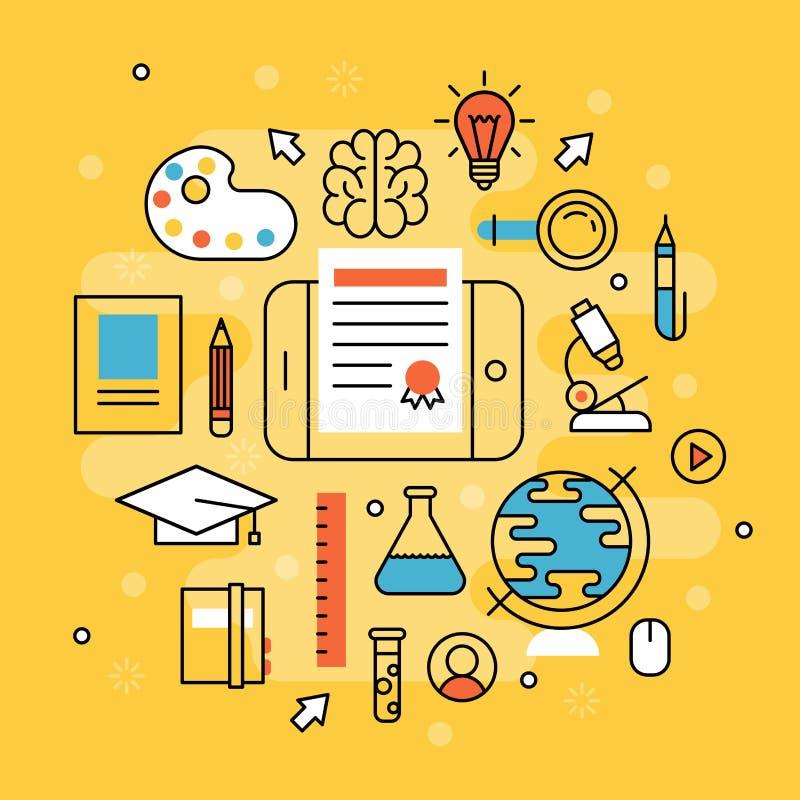 Online imparare il video deposito di formazione del personale di esercitazioni di istruzione distante piana di progettazione che  illustrazione vettoriale