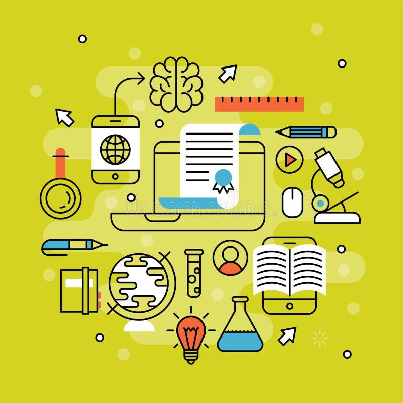 Online imparare il video deposito di formazione del personale di esercitazioni di istruzione distante piana di progettazione che  illustrazione di stock