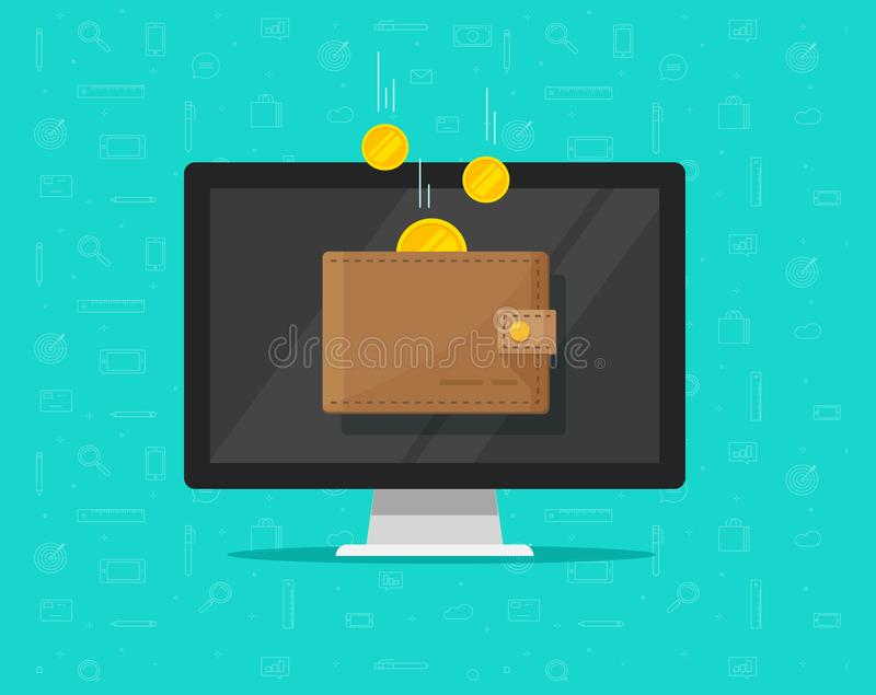 Online income money in electronic wallet vector illustration, cartoon golden coins flying in wallet on computer pc. Online income money in electronic wallet stock illustration