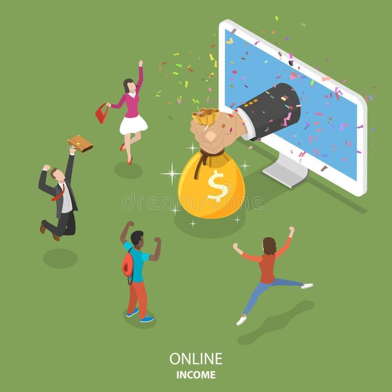 Online inkomens vlak isometrisch vectorconcept stock illustratie