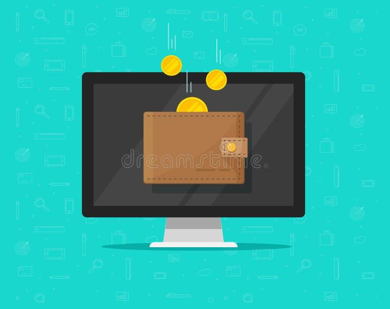 Online inkomensgeld in elektronische portefeuille vectorillustratie, beeldverhaal gouden muntstukken die in portefeuille op compu stock illustratie