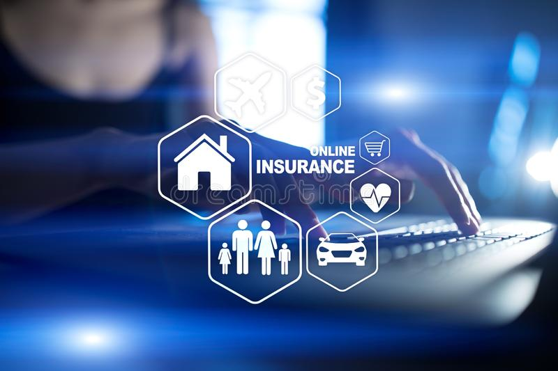 Online insurance on virtual screen. Life, car, property, health and family. Internet and digital technology concept. Online insurance on virtual screen. Life royalty free illustration