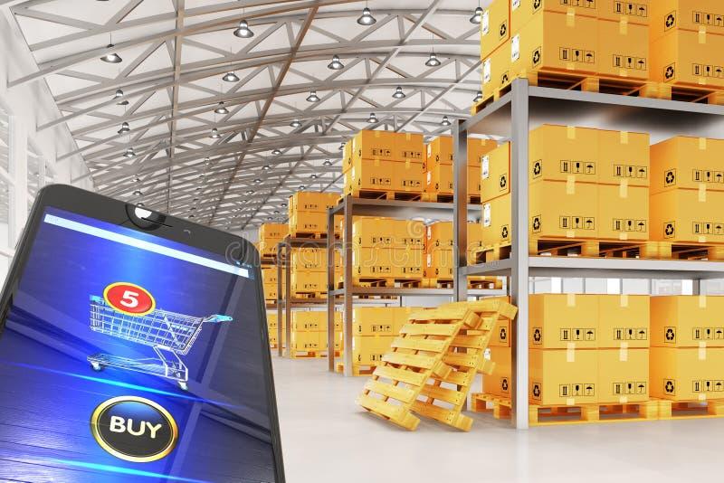 Online Internet-aankopen en elektronische handelconcept royalty-vrije illustratie