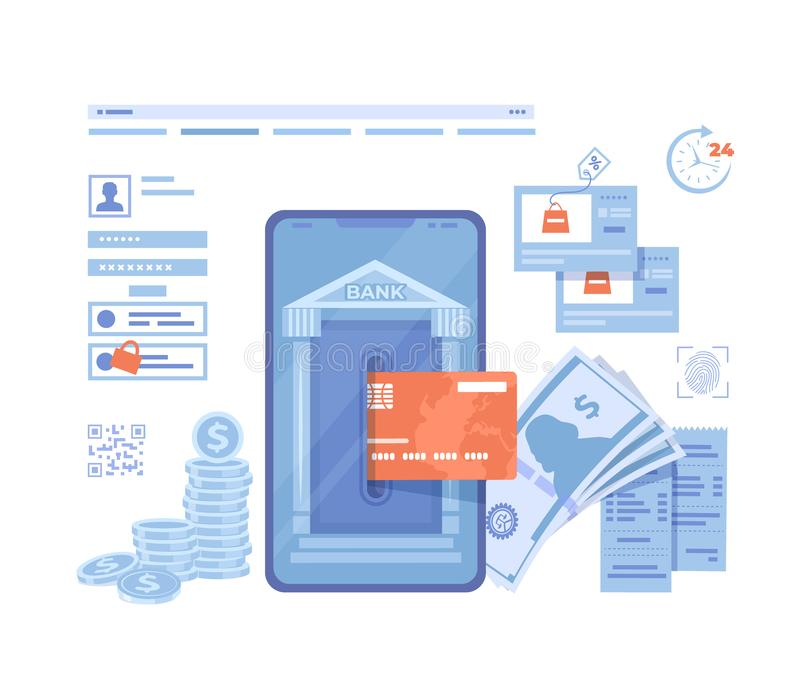 Online Internet Banking. Payment for purchases via smartphone. Fast easy securely mobile banking. Credit card transaction, financi vector illustration
