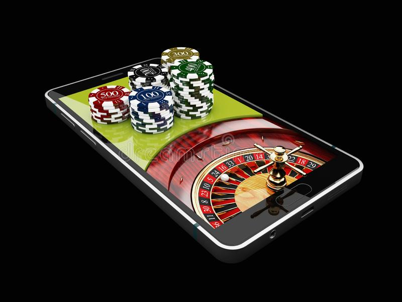 Online Internet casino app, roulette with chips on the phone, gambling casino games. 3d illustration royalty free illustration