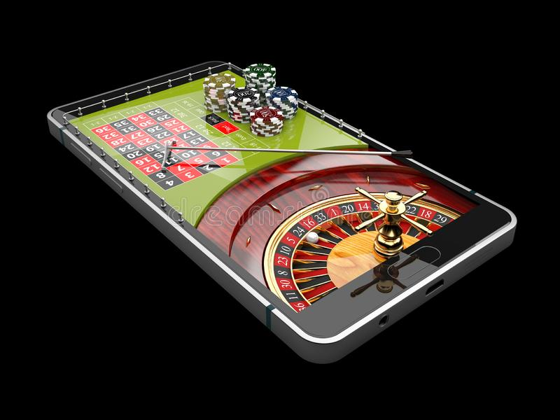 Online Internet casino app, roulette with chips on the phone, gambling casino games. 3d illustration vector illustration