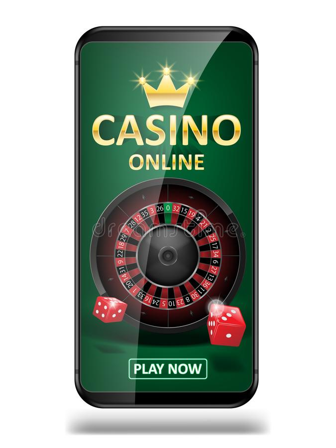Online Internet casino marketing banner. phone app with dice, poker and roulette wheel. Playing Web poker and gambling. Casino games. Vector illustration EPS 10 stock illustration
