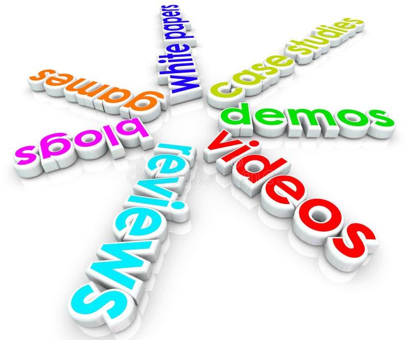 Online Internet Content Marketing Blogs White Papers Case Studies Videos vector illustration