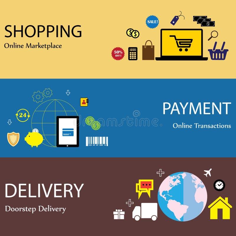 Online Internet-het winkelen betaling & leveringsconcepten vlakke pictogrammen s stock illustratie