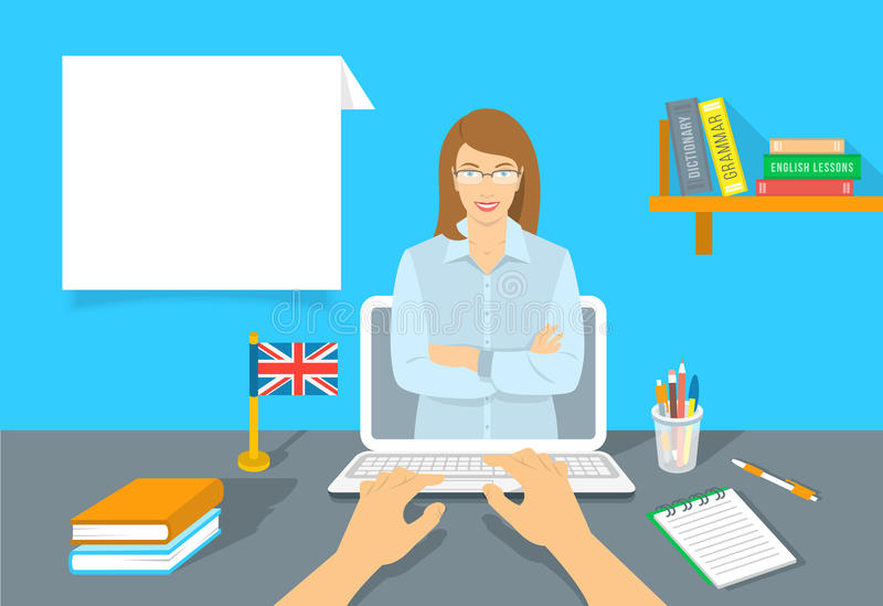 Online Internet Language courses flat vector illustration. Foreign languages study at home using computer. English teacher with text box and book, notebook, a royalty free illustration