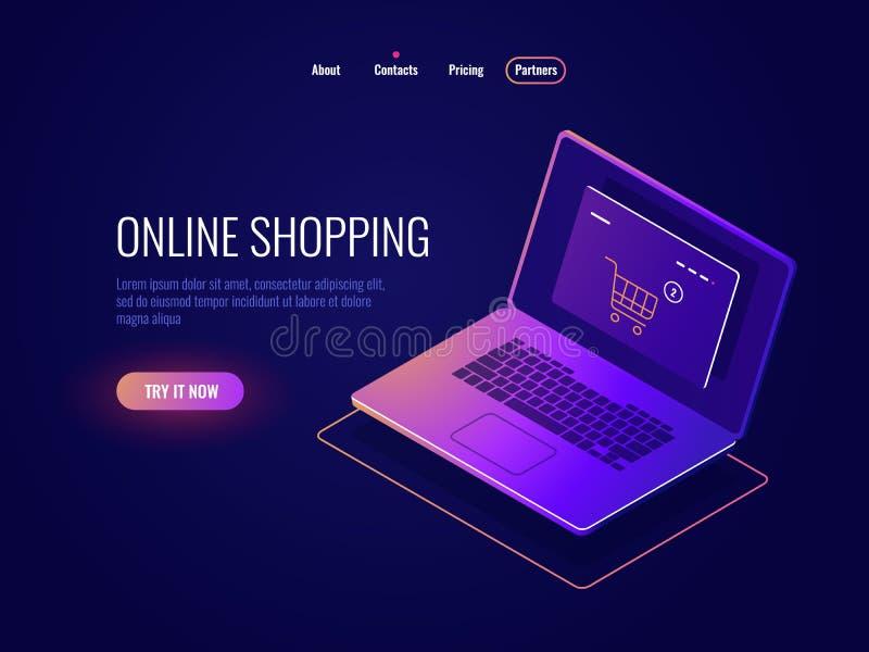 Online internet robi zakupy isometric ikonę, strona internetowa zakup, laptop z online sklepową stroną, laptopu zmrok neonowy ilustracja wektor