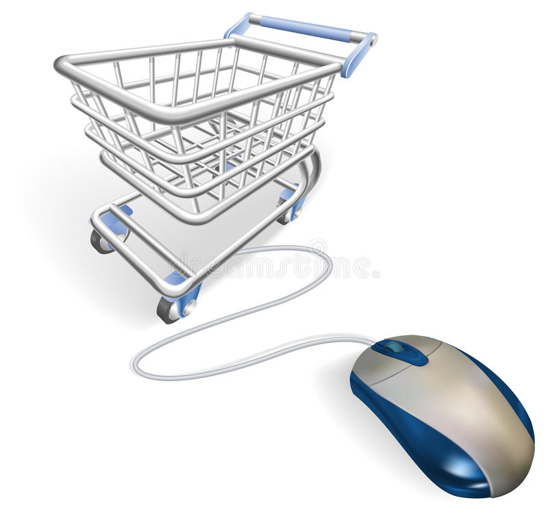 Online internet shopping concept. A mouse connected to a shopping cart trolley. Concept for online internet shopping stock illustration