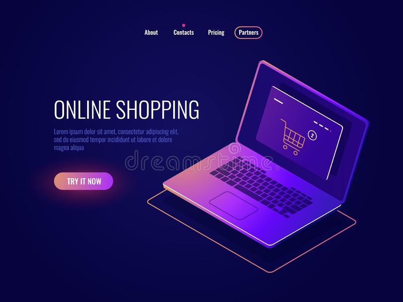 Online internet shopping isometric icon, website purchase, laptop with online shop page, laptop dark neon vector illustration