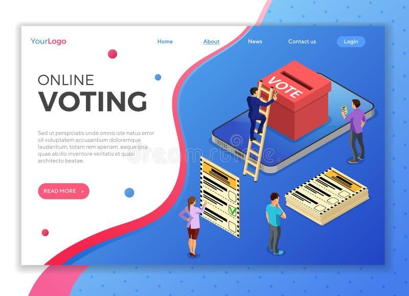 Online-internet som röstar isometriskt begrepp royaltyfri illustrationer