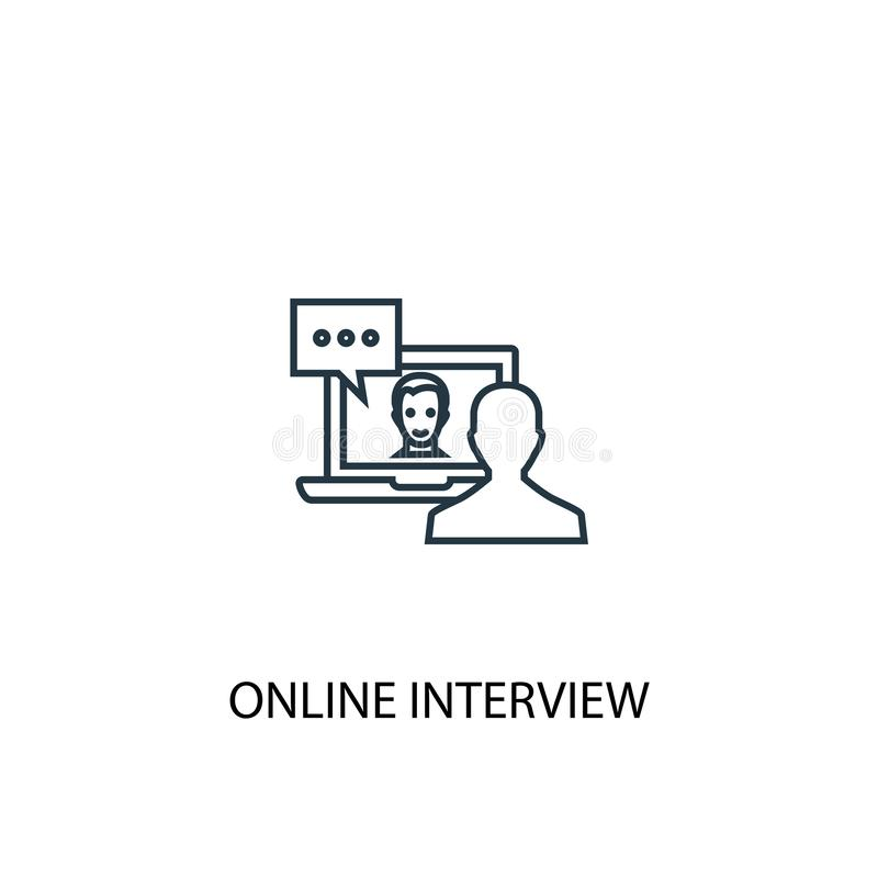 Online interview concept line icon. Simple element illustration. online interview concept outline royalty free illustration