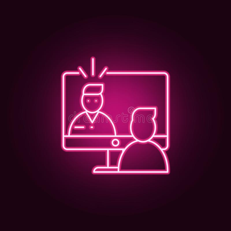Online interview icon. Elements of interview in neon style icons. Simple icon for websites, web design, mobile app, info graphics. On dark gradient background royalty free illustration