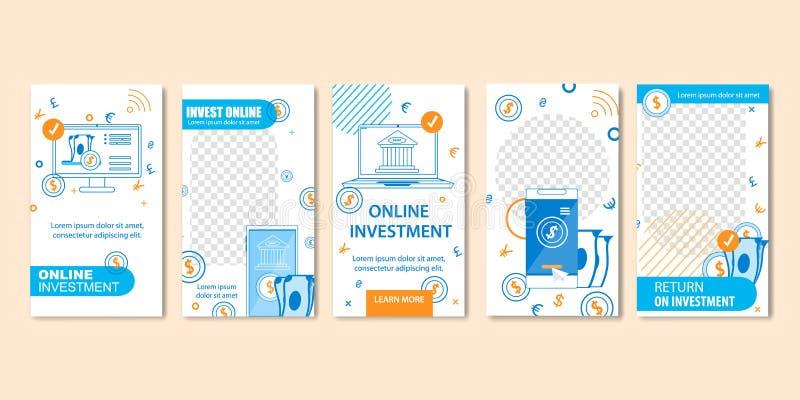 Online-investering och faktiska finansmallar vektor illustrationer