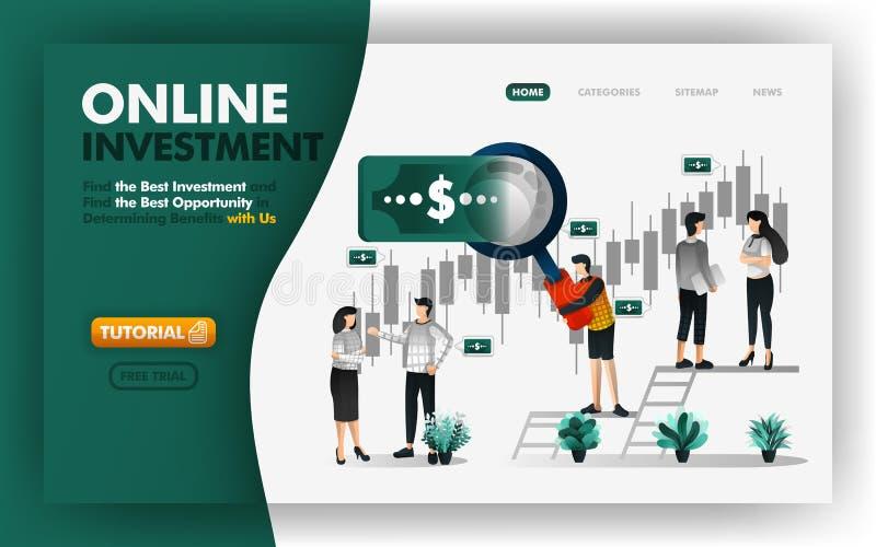 Online-investering och packa ihop vektorillustrationen män med jätte- förstoringsapparater ska ge dig rådgivning för att bestämma vektor illustrationer