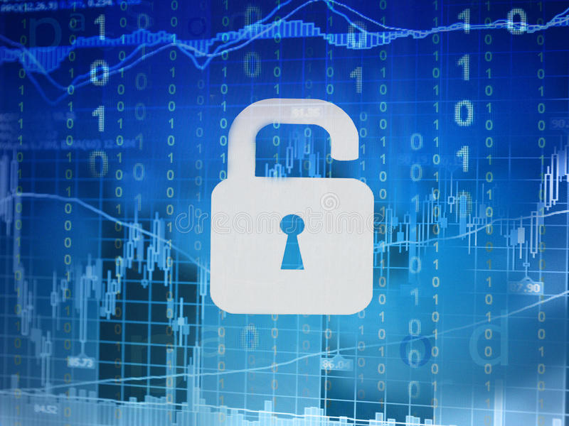 Online investment security. Online investment trading security concept stock photos