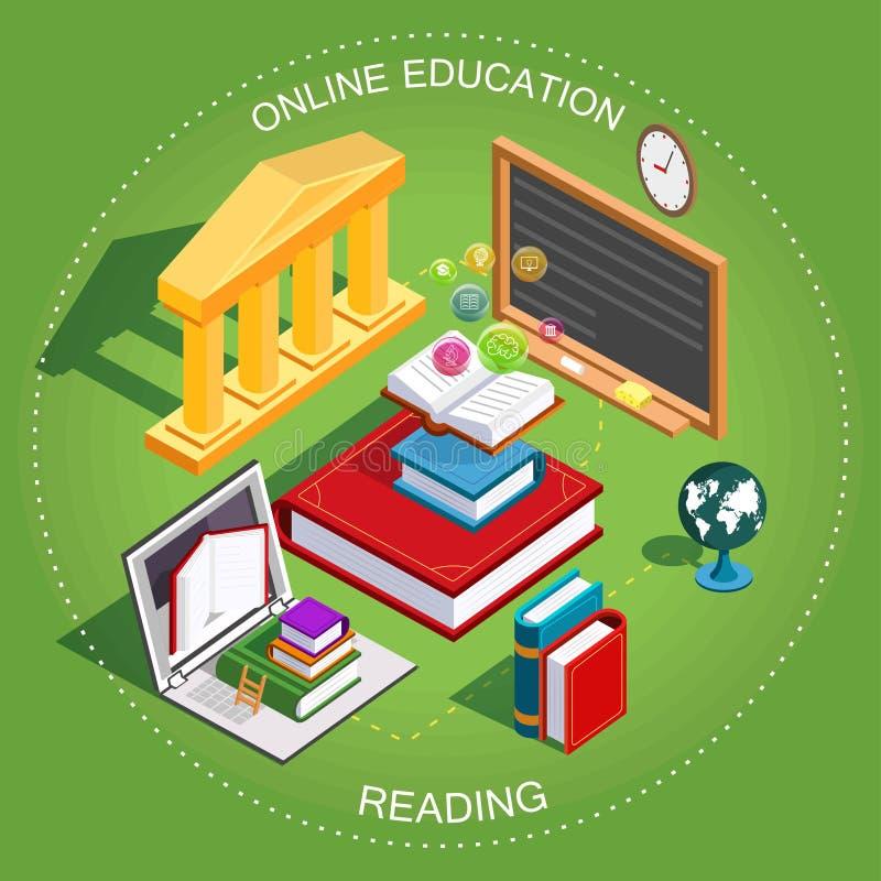 Online Isometrisch onderwijs Het concept het leren van en het lezen van boeken in de bibliotheek Vlak Ontwerp Vector vector illustratie