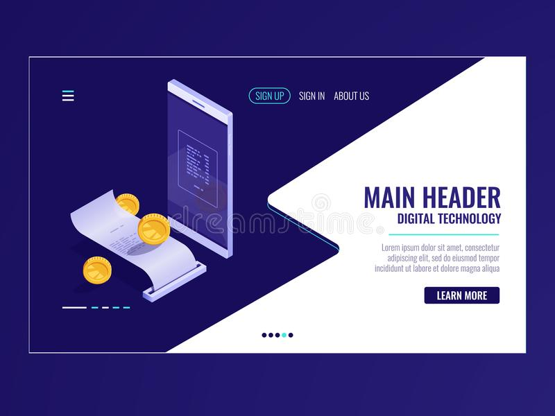 Online-isometrisk bankrörelsesymbol, betalningelektronräkning, faktureringssystem, lönmeddelande, mobiltelefon, pappers- kvitto vektor illustrationer