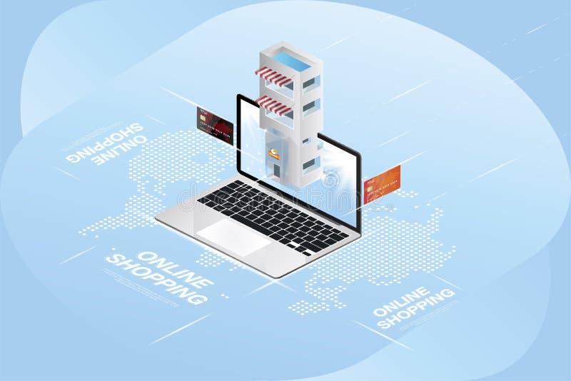 Online-isometriskt begrepp för lager 3D Shoppa i en bärbar dator på en bakgrund av en världskarta och kreditkortar för illustrati vektor illustrationer
