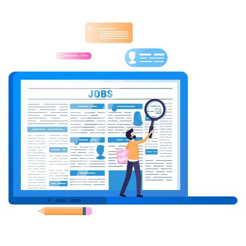 Online-jobbsökande Bärbar dator med tidningen på skärmen vektor illustrationer