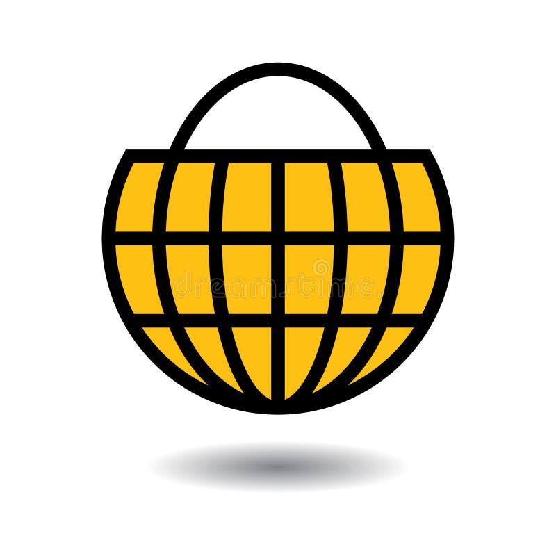 Online-jordklot för shoppingpåse vektor illustrationer