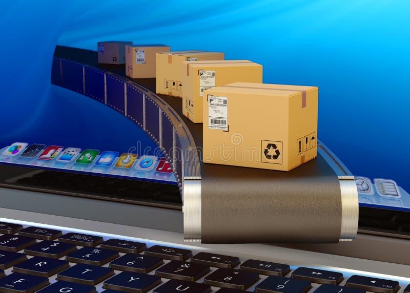 Online-köp och internetshoppingbegrepp stock illustrationer