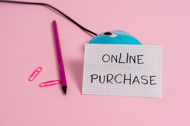 Online-k?p f?r ordhandstiltext Affärsidé för gods för elektronisk kommers för köp från över internettråden royaltyfri foto