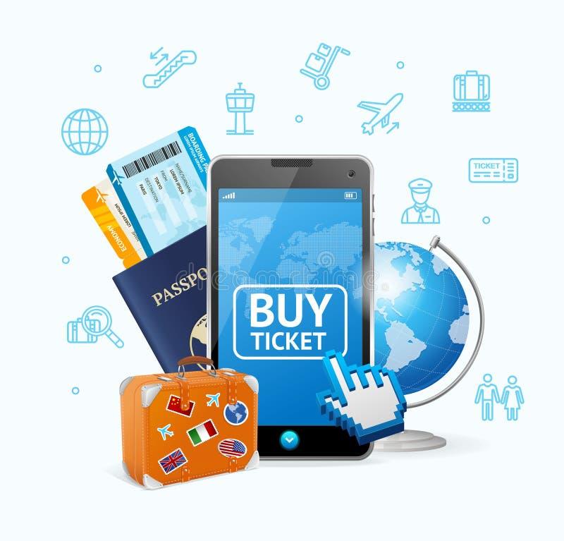 Online Kaartjesluchtvaartlijn met Mobiele App Vector stock illustratie