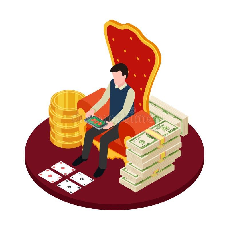 Online-kasino med sedlar, mynt och mannen med den isometriska vektorillustrationen för minnestavla stock illustrationer