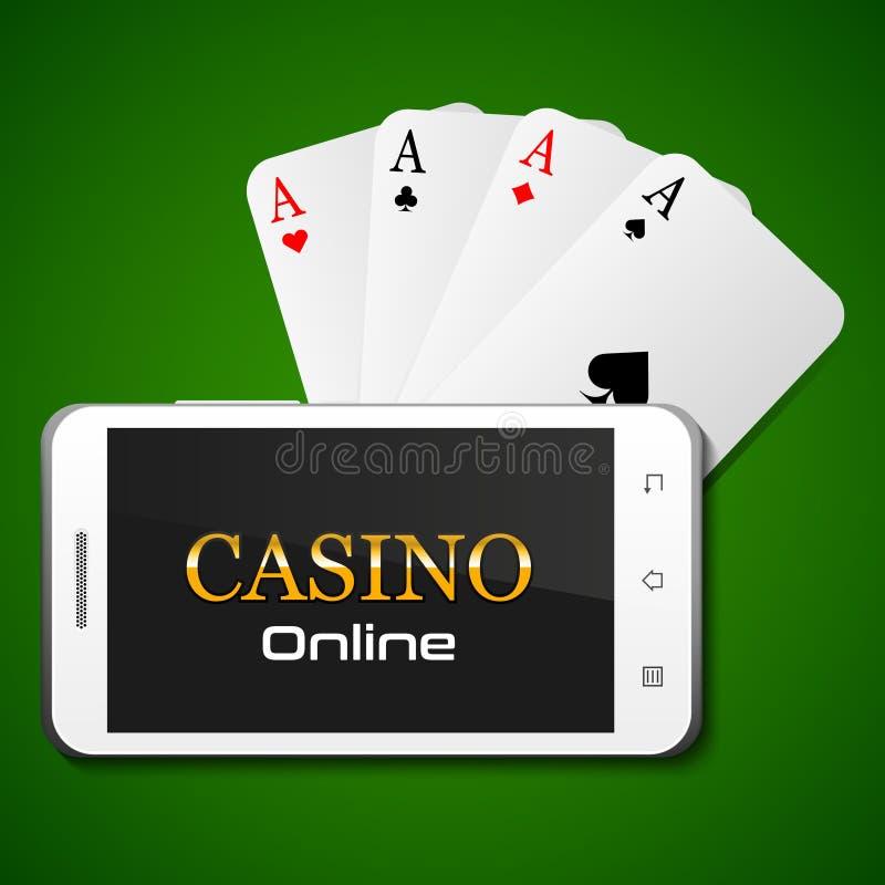 Online-kasinobegrepp, smartphone och fyra överdängare stock illustrationer