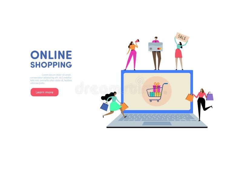 Online kaufen Geschäft auf Mobile Leutevektorillustration Flaches Zeichentrickfilm-Figur-Grafikdesign Dieses ist Datei des Format stock abbildung