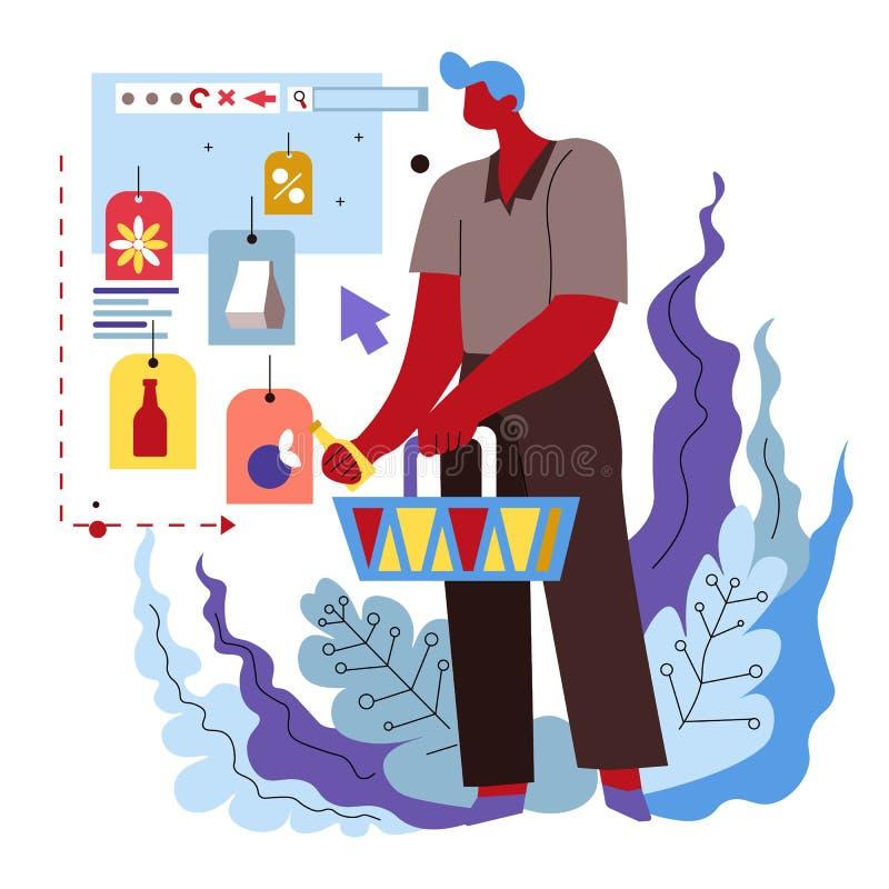 Online kaufen und Zustelldienst, Kerl, der Verkaufswaren mit Preisen kauft stock abbildung