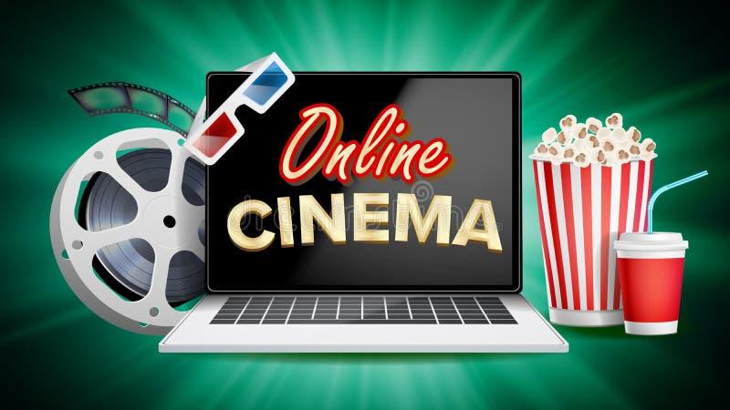 Online Kinowy Plakatowy wektor Nowożytny laptopu pojęcie Domowy Online kino royalty ilustracja