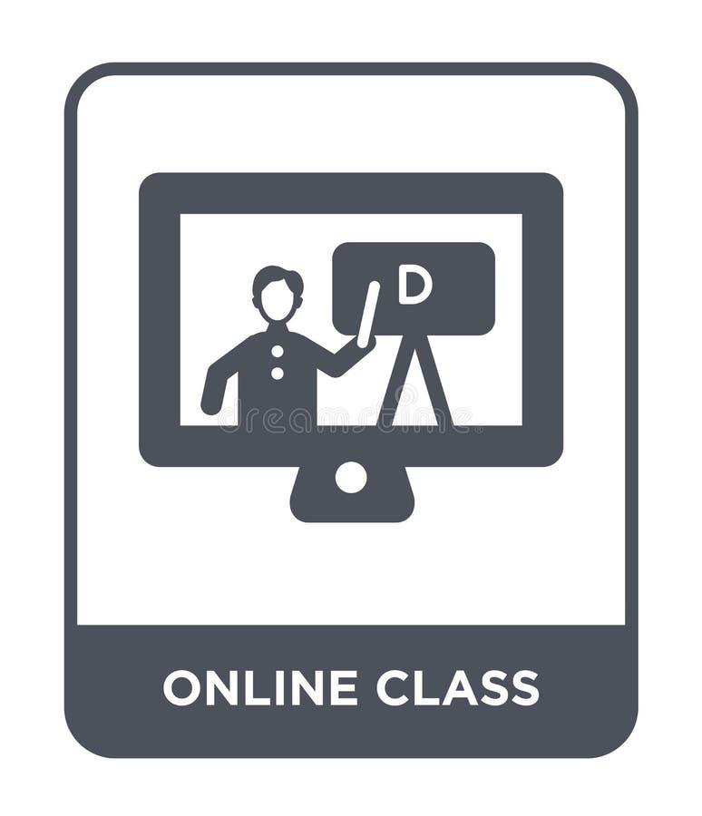 online klassenpictogram in in ontwerpstijl Online die klassenpictogram op witte achtergrond wordt geïsoleerd online eenvoudig kla stock illustratie