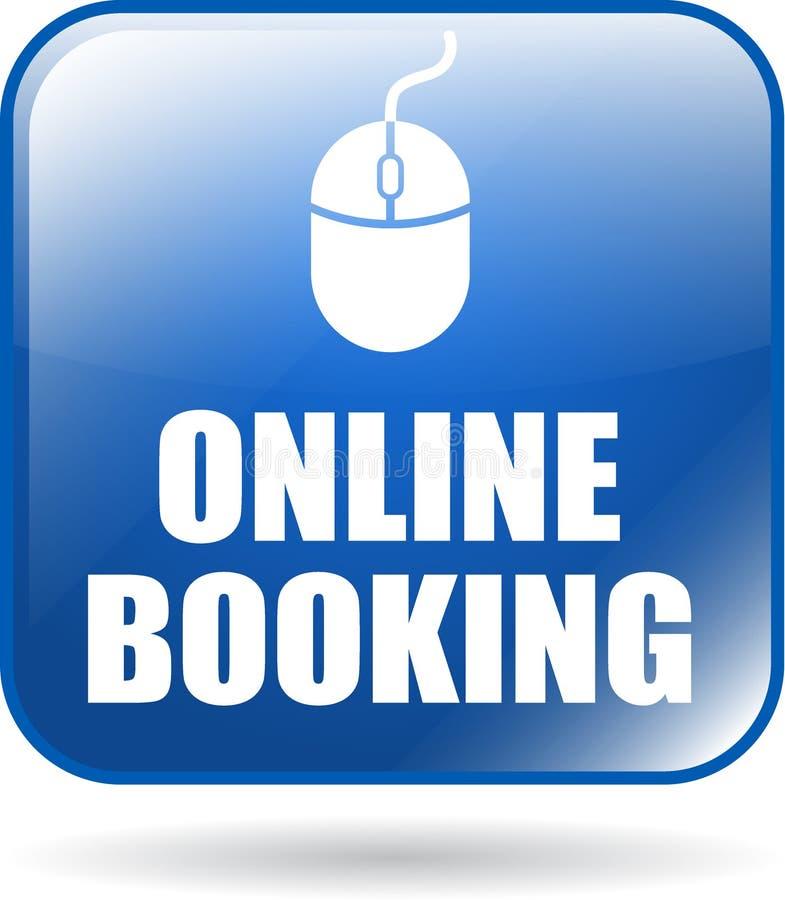 Online-knapp för bokningsymbolsrengöringsduk royaltyfri illustrationer