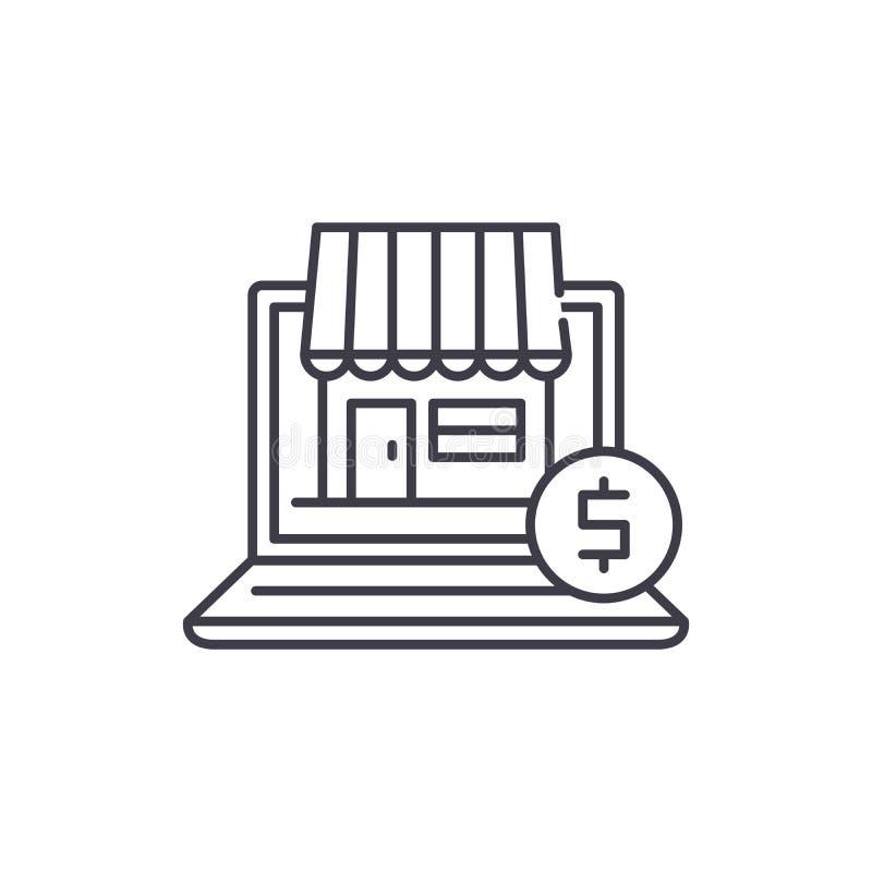 Online-kommerslinje symbolsbegrepp Linjär illustration för online-kommersvektor, symbol, tecken vektor illustrationer
