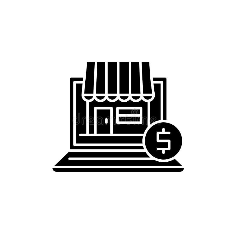 Online-kommerssvartsymbol, vektortecken på isolerad bakgrund Online-kommersbegreppssymbol, illustration stock illustrationer