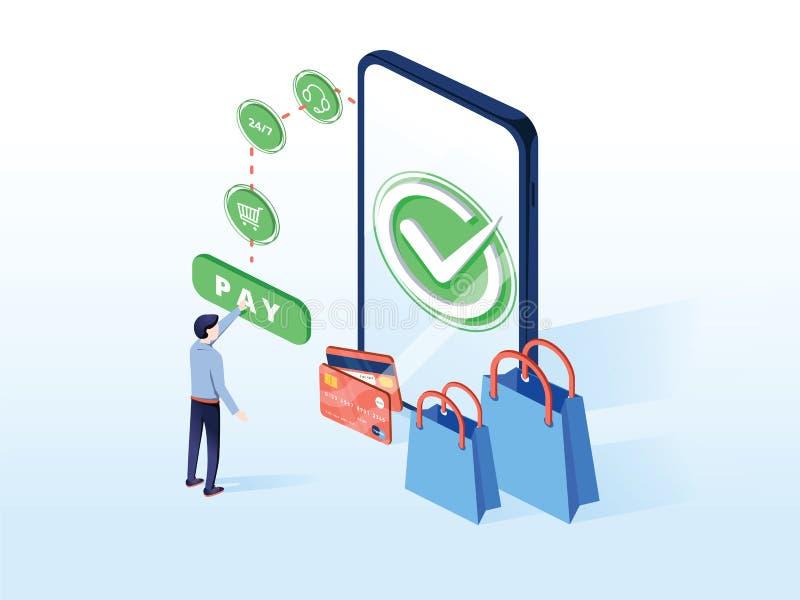 Online-kommersvektorillustration för e-affär eller e-kommers teknologi Mobil app för betalning med kreditkorten royaltyfri illustrationer