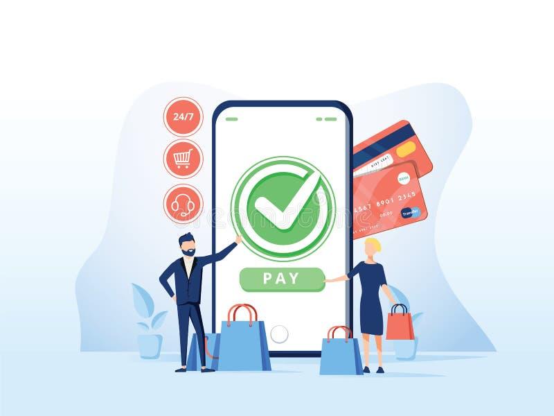 Online-kommersvektorillustration för e-affär eller e-kommers teknologi Mobil app för betalning med kreditkorten vektor illustrationer